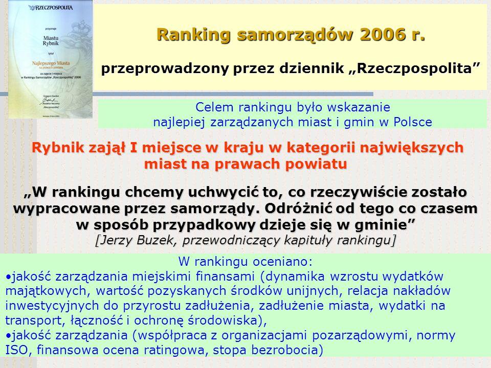 V EDYCJA KONKURSU GMINA FAIR PLAY Rybnik został głównym laureatem konkursu GMINA FAIR PLAY 2006 Celem konkursu i certyfikacji jest wyróżnianie gmin za