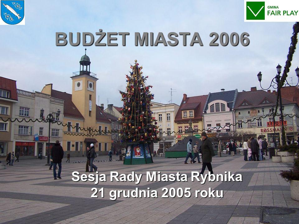 BUDŻET MIASTA 2006 Sesja Rady Miasta Rybnika 21 grudnia 2005 roku