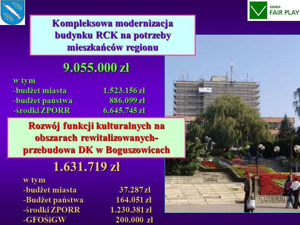 Kompleksowa modernizacja budynku RCK na potrzeby mieszkańców regionu 9.055.000 zł w tym 9.055.000 zł w tym -budżet miasta 1.523.156 zł -budżet państwa 886.099 zł -środki ZPORR6.645.745 zł Rozwój funkcji kulturalnych na obszarach rewitalizowanych- przebudowa DK w Boguszowicach 1.631.719 zł w tym -budżet miasta 37.287 zł -Budżet państwa 164.051 zł -środki ZPORR 1.230.381 zł -GFOŚiGW 200.000 zł