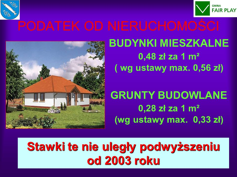 PODATEK OD NIERUCHOMOŚCI BUDYNKI MIESZKALNE 0,48 zł za 1 m² ( wg ustawy max. 0,56 zł) GRUNTY BUDOWLANE 0,28 zł za 1 m² (wg ustawy max. 0,33 zł) Stawki