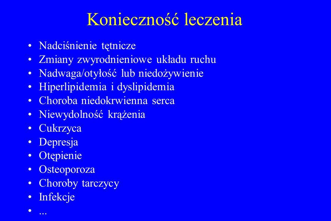 Konieczność leczenia Nadciśnienie tętnicze Zmiany zwyrodnieniowe układu ruchu Nadwaga/otyłość lub niedożywienie Hiperlipidemia i dyslipidemia Choroba niedokrwienna serca Niewydolność krążenia Cukrzyca Depresja Otępienie Osteoporoza Choroby tarczycy Infekcje...