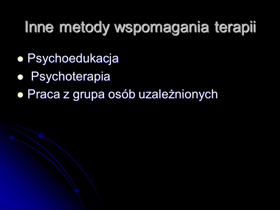 Inne metody wspomagania terapii Psychoedukacja Psychoedukacja Psychoterapia Psychoterapia Praca z grupa osób uzależnionych Praca z grupa osób uzależni
