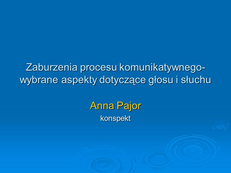 Zaburzenia procesu komunikatywnego- wybrane aspekty dotyczące głosu i słuchu Anna Pajor konspekt