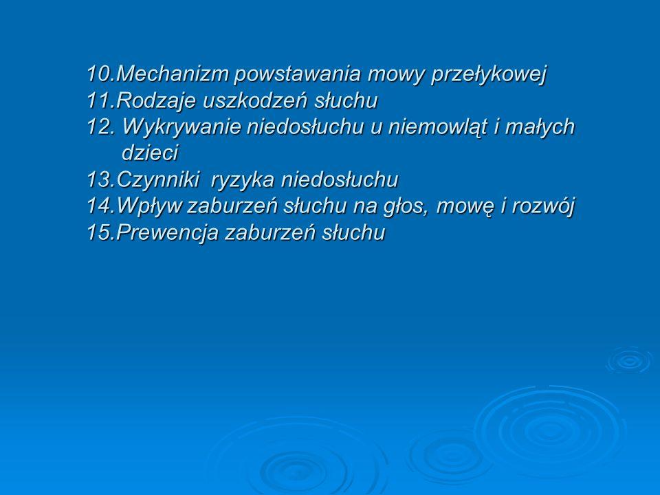 10.Mechanizm powstawania mowy przełykowej 11.Rodzaje uszkodzeń słuchu 12. Wykrywanie niedosłuchu u niemowląt i małych dzieci 13.Czynniki ryzyka niedos