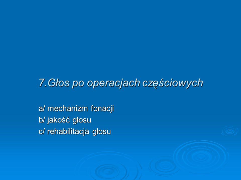 7.Głos po operacjach częściowych a/ mechanizm fonacji b/ jakość głosu c/ rehabilitacja głosu