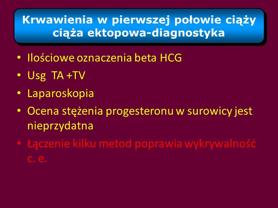 Krwawienia w pierwszej połowie ciąży ciąża ektopowa-diagnostyka Ilościowe oznaczenia beta HCG Usg TA +TV Laparoskopia Ocena stężenia progesteronu w su