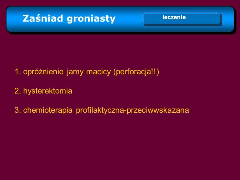 Zaśniad groniasty leczenie 1. opróżnienie jamy macicy (perforacja!!) 2. hysterektomia 3. chemioterapia profilaktyczna-przeciwwskazana