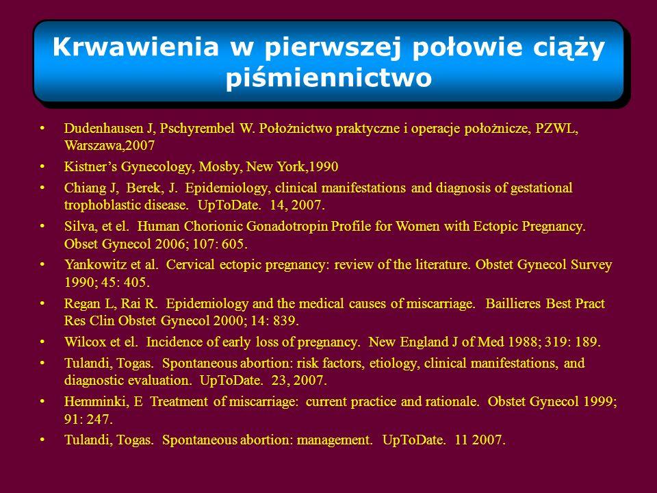 Krwawienia w pierwszej połowie ciąży piśmiennictwo Dudenhausen J, Pschyrembel W. Położnictwo praktyczne i operacje położnicze, PZWL, Warszawa,2007 Kis