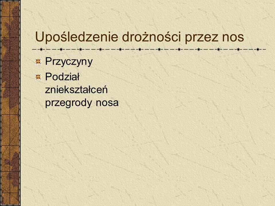 Upośledzenie drożności przez nos Przyczyny Podział zniekształceń przegrody nosa