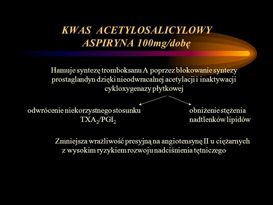 KWAS ACETYLOSALICYLOWY ASPIRYNA 100mg/dobę Hamuje syntezę tromboksanu A poprzez blokowanie syntezy prostaglandyn dzięki nieodwracalnej acetylacji i in