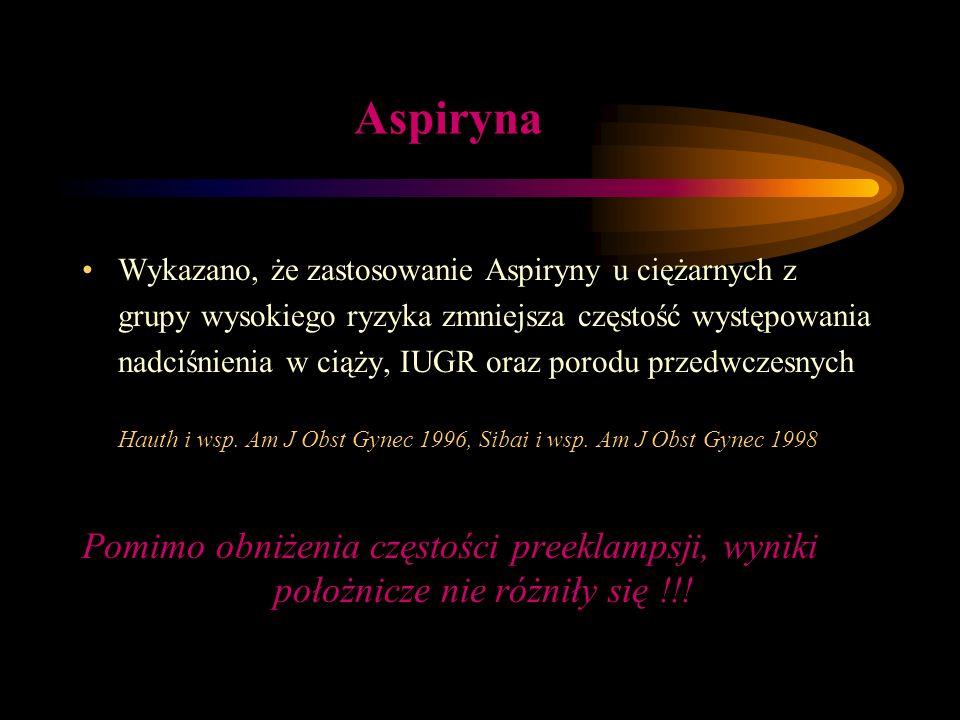 Aspiryna Wykazano, że zastosowanie Aspiryny u ciężarnych z grupy wysokiego ryzyka zmniejsza częstość występowania nadciśnienia w ciąży, IUGR oraz poro