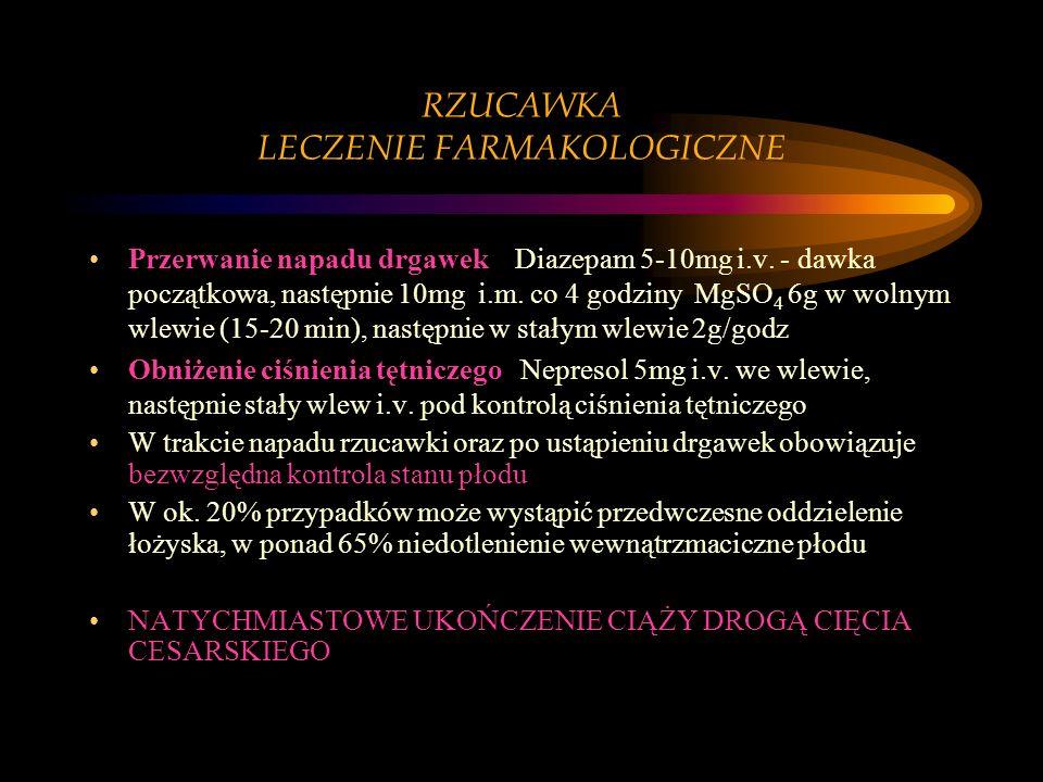 RZUCAWKA LECZENIE FARMAKOLOGICZNE Przerwanie napadu drgawek Diazepam 5-10mg i.v. - dawka początkowa, następnie 10mg i.m. co 4 godziny MgSO 4 6g w woln