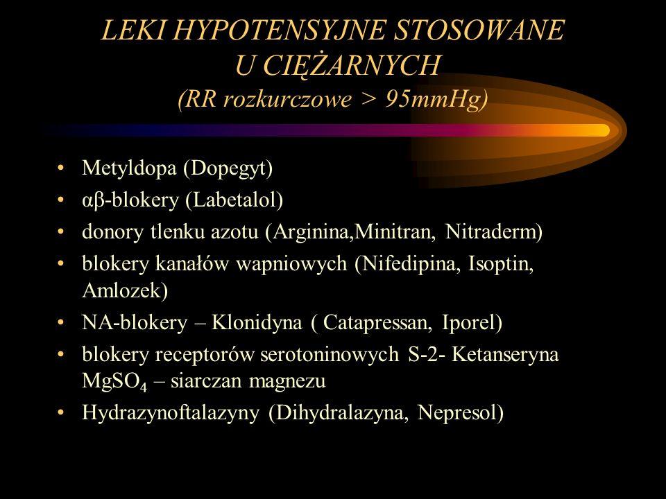 LEKI HYPOTENSYJNE STOSOWANE U CIĘŻARNYCH (RR rozkurczowe > 95mmHg) Metyldopa (Dopegyt) αβ-blokery (Labetalol) donory tlenku azotu (Arginina,Minitran,