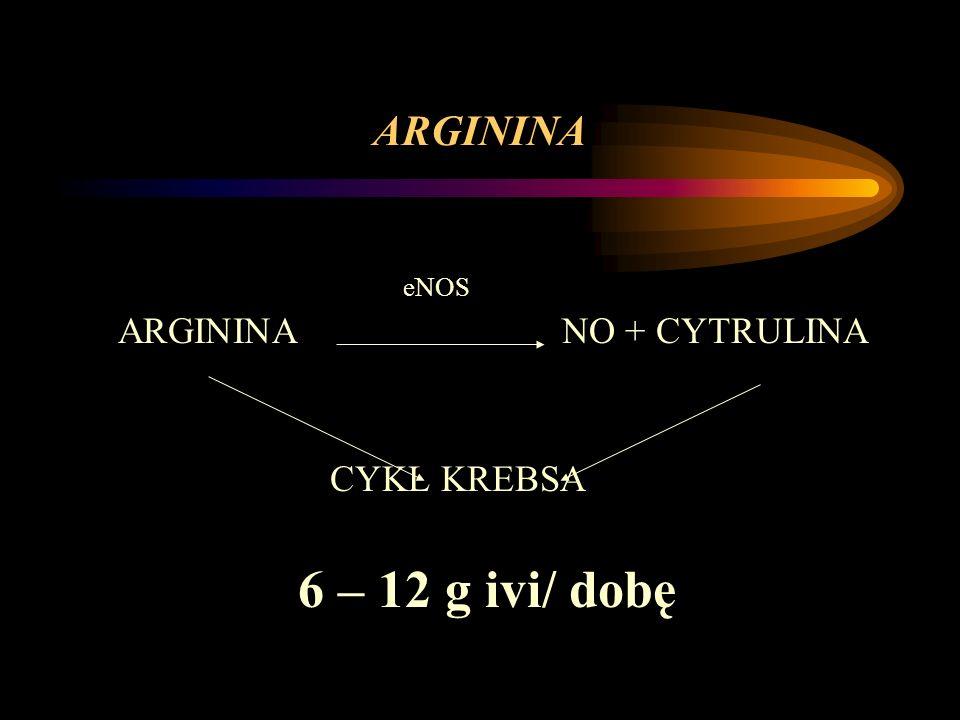 ARGININA eNOS ARGININA NO + CYTRULINA CYKL KREBSA 6 – 12 g ivi/ dobę
