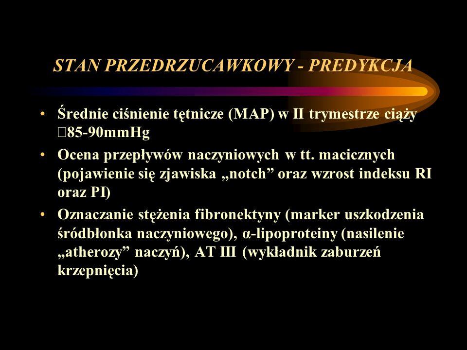 STAN PRZEDRZUCAWKOWY - PREDYKCJA Średnie ciśnienie tętnicze (MAP) w II trymestrze ciąży 85-90mmHg Ocena przepływów naczyniowych w tt. macicznych (poja