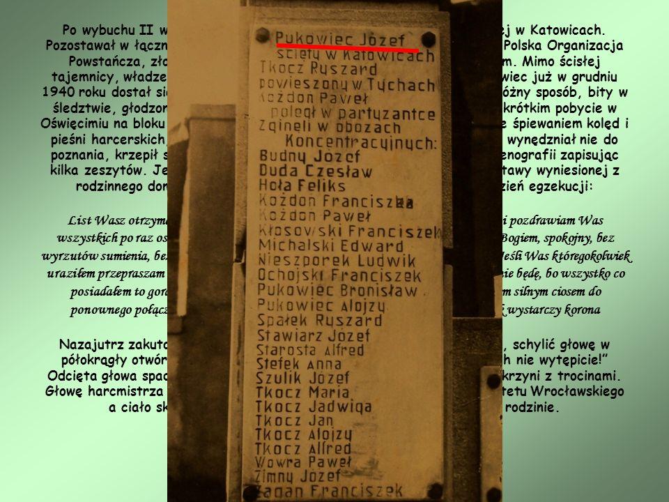 Po wybuchu II wojny światowej został komendantem Chorągwi Śląskiej w Katowicach. Pozostawał w łączności z Rybnikiem, gdzie zawiązała się z jego pomocą