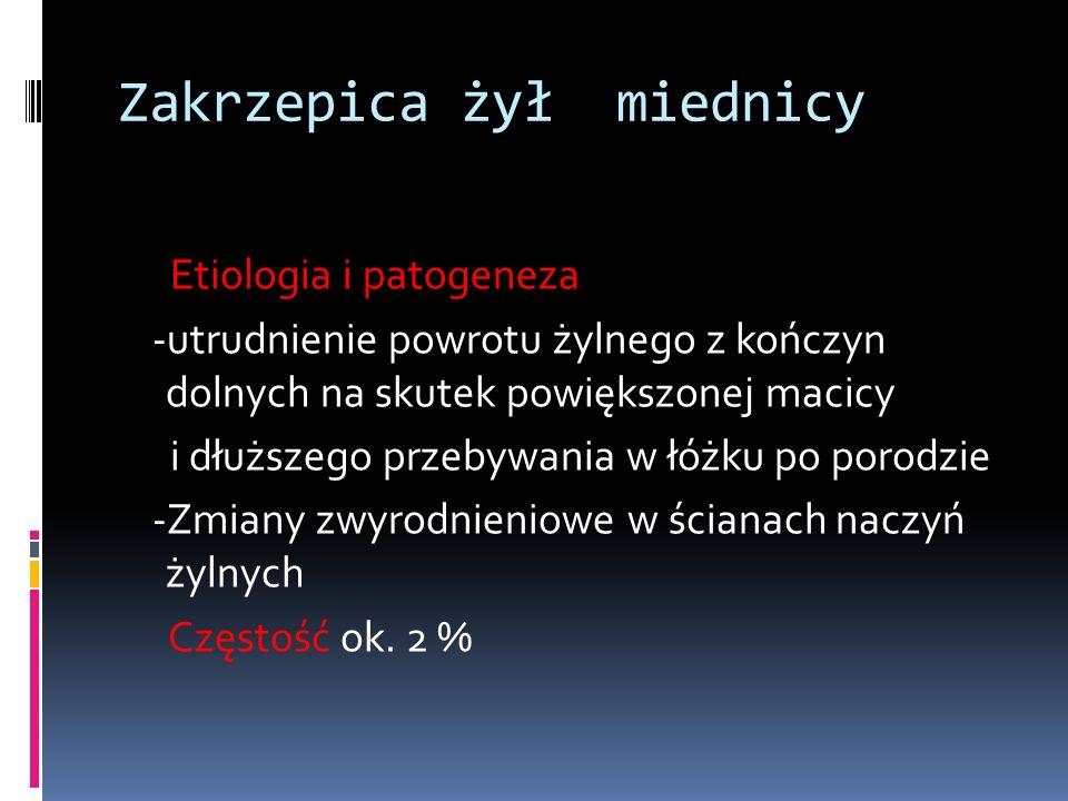 Zakrzepica żył miednicy Etiologia i patogeneza -utrudnienie powrotu żylnego z kończyn dolnych na skutek powiększonej macicy i dłuższego przebywania w łóżku po porodzie -Zmiany zwyrodnieniowe w ścianach naczyń żylnych Częstość ok.