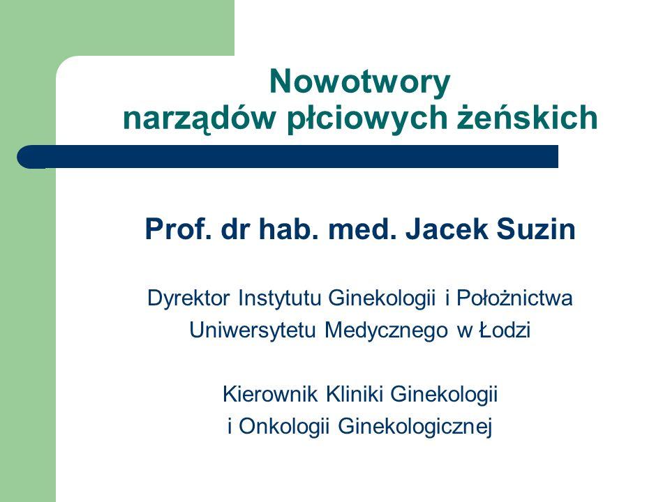 Nowotwory narządów płciowych żeńskich Prof. dr hab. med. Jacek Suzin Dyrektor Instytutu Ginekologii i Położnictwa Uniwersytetu Medycznego w Łodzi Kier