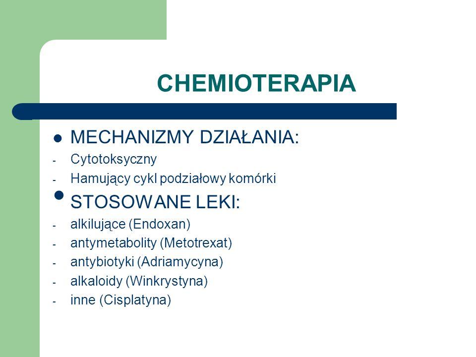 CHEMIOTERAPIA MECHANIZMY DZIAŁANIA: - Cytotoksyczny - Hamujący cykl podziałowy komórki STOSOWANE LEKI: - alkilujące (Endoxan) - antymetabolity (Metotr