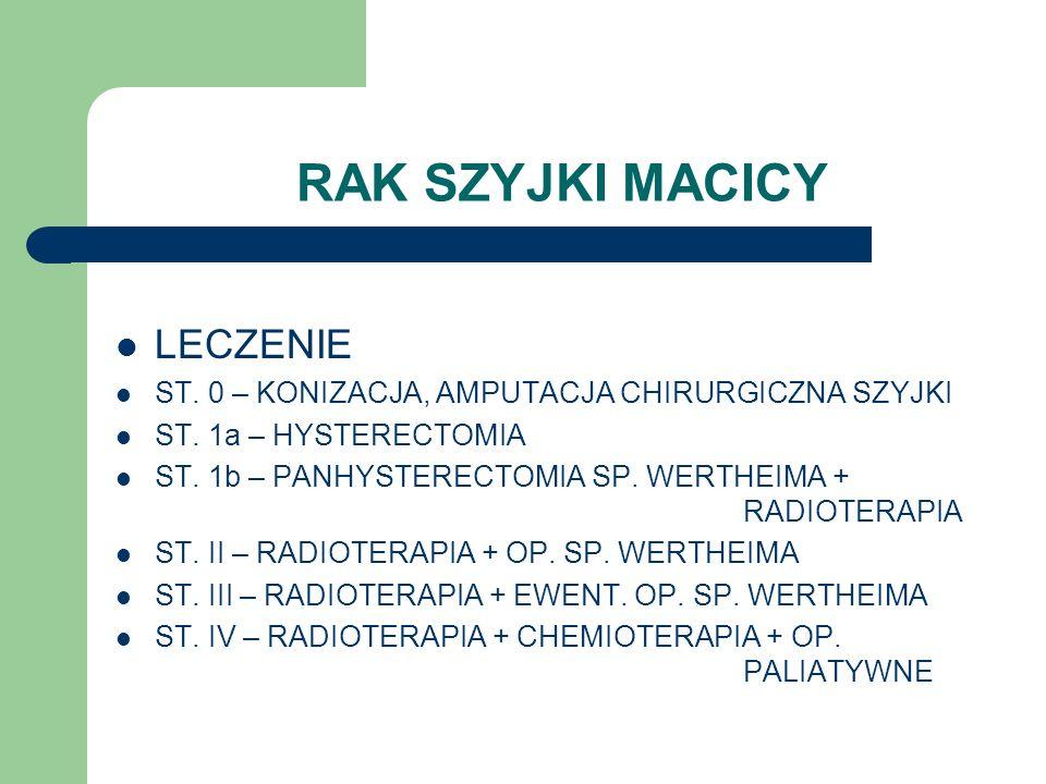 RAK SZYJKI MACICY LECZENIE ST. 0 – KONIZACJA, AMPUTACJA CHIRURGICZNA SZYJKI ST. 1a – HYSTERECTOMIA ST. 1b – PANHYSTERECTOMIA SP. WERTHEIMA + RADIOTERA