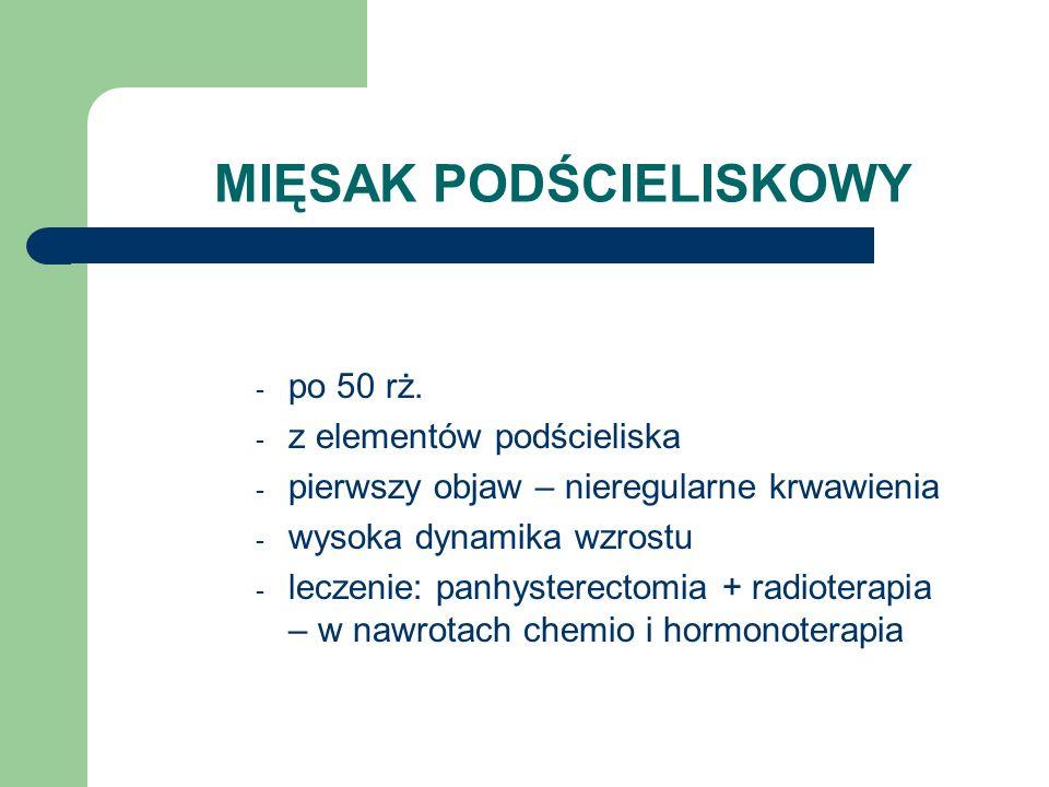 MIĘSAK PODŚCIELISKOWY - po 50 rż. - z elementów podścieliska - pierwszy objaw – nieregularne krwawienia - wysoka dynamika wzrostu - leczenie: panhyste