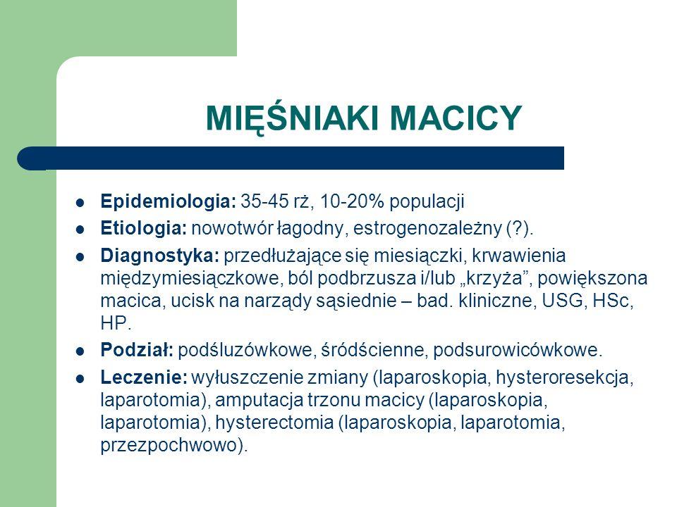 MIĘŚNIAKI MACICY Epidemiologia: 35-45 rż, 10-20% populacji Etiologia: nowotwór łagodny, estrogenozależny (?). Diagnostyka: przedłużające się miesiączk