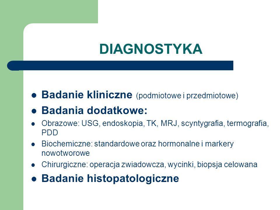 DIAGNOSTYKA Badanie kliniczne (podmiotowe i przedmiotowe) Badania dodatkowe: Obrazowe: USG, endoskopia, TK, MRJ, scyntygrafia, termografia, PDD Bioche