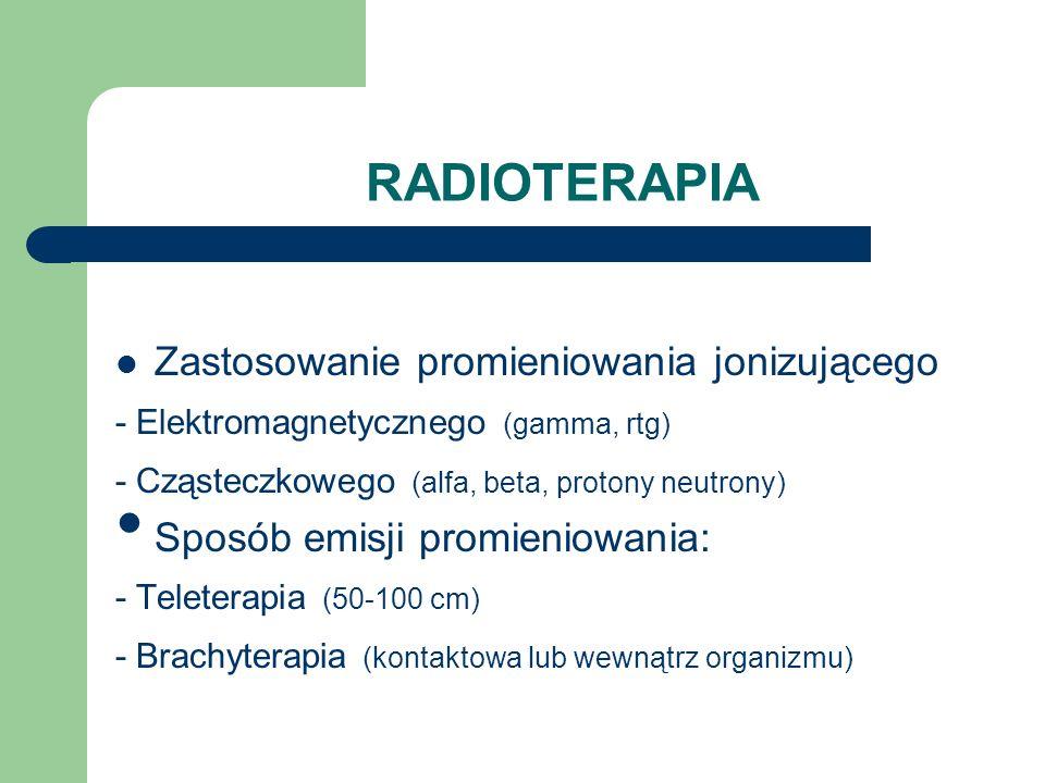 CHEMIOTERAPIA MECHANIZMY DZIAŁANIA: - Cytotoksyczny - Hamujący cykl podziałowy komórki STOSOWANE LEKI: - alkilujące (Endoxan) - antymetabolity (Metotrexat) - antybiotyki (Adriamycyna) - alkaloidy (Winkrystyna) - inne (Cisplatyna)