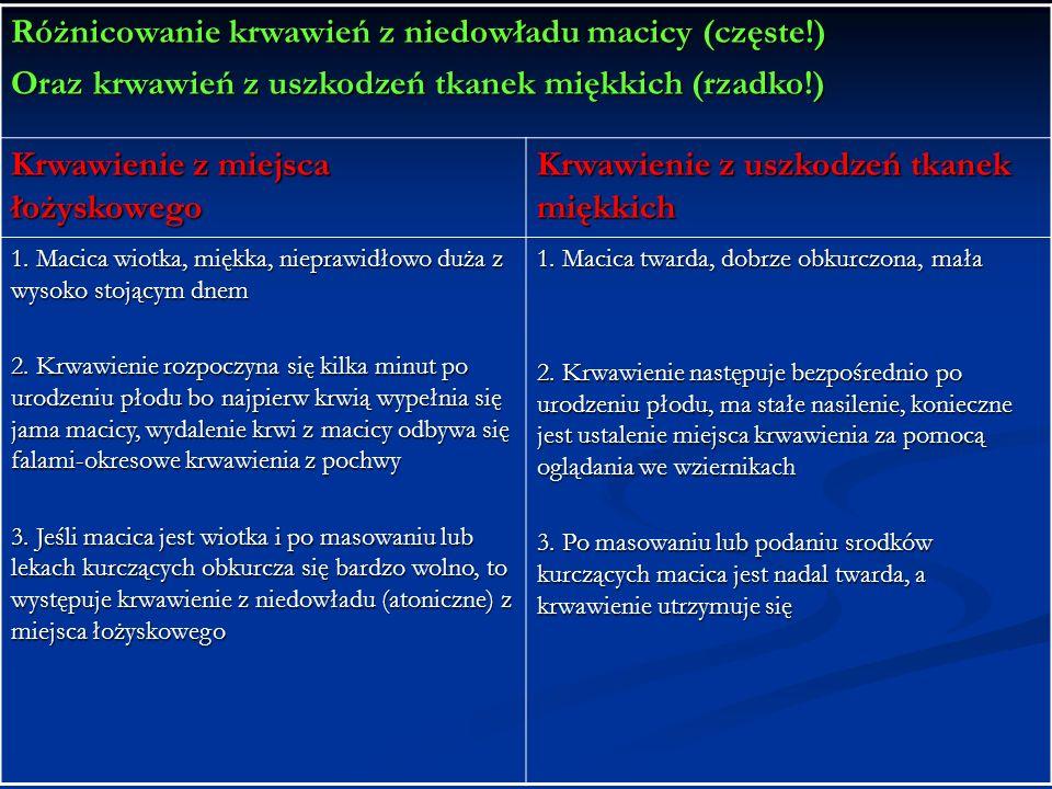 Różnicowanie krwawień z niedowładu macicy (częste!) Oraz krwawień z uszkodzeń tkanek miękkich (rzadko!) Krwawienie z miejsca łożyskowego Krwawienie z