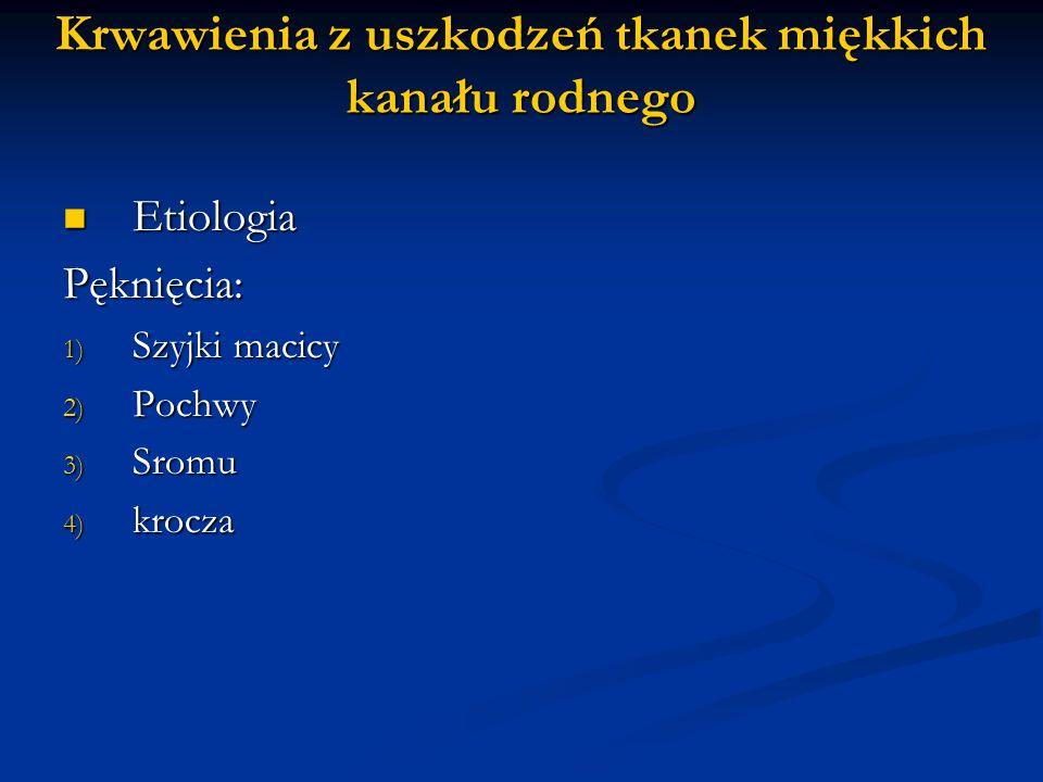 Krwawienia z uszkodzeń tkanek miękkich kanału rodnego Etiologia EtiologiaPęknięcia: 1) Szyjki macicy 2) Pochwy 3) Sromu 4) krocza