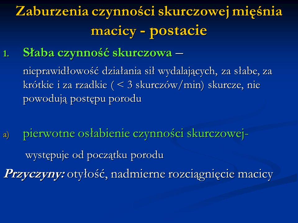 b) wtórne osłabienie czynności skurczowej- prawidłowe na początku skurcze słabną w trakcie porodu (osłabienie z wyczerpania): są słabsze, krótsze, wydłuża się przerwa między skurczami Przyczyny: Przyczyny: Czynnościowe: niewspółmierność, wąska miednica, nieprawidłowe wstawianie się lub ułożenie główki Przeszkody porodowe: niepodatne części miękkie, ostry łuk łonowy, nadmierne zagięcie kości krzyżowej lub wystawanie kolców kości kulszowej