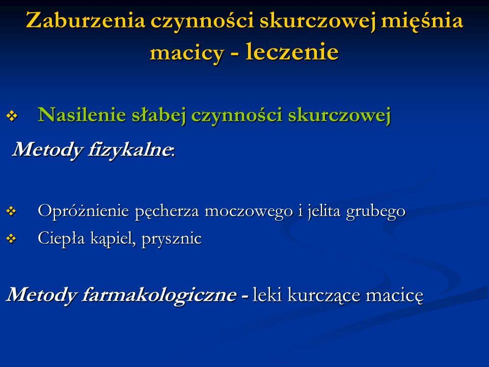 1) Dożylny wlew kroplowy z oksytocyną ( 5jm oksytocyny w 500 ml płynu) prędkość wlewu: 1kropla/min do max 30 kropli /min Uwaga .