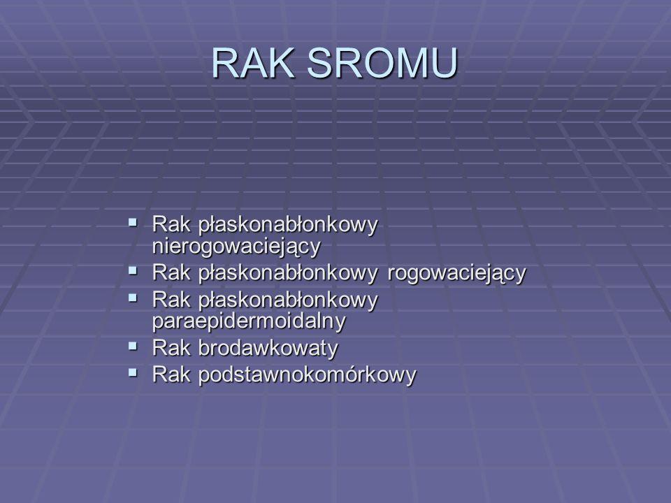 RAK SROMU Rak płaskonabłonkowy nierogowaciejący Rak płaskonabłonkowy nierogowaciejący Rak płaskonabłonkowy rogowaciejący Rak płaskonabłonkowy rogowaci