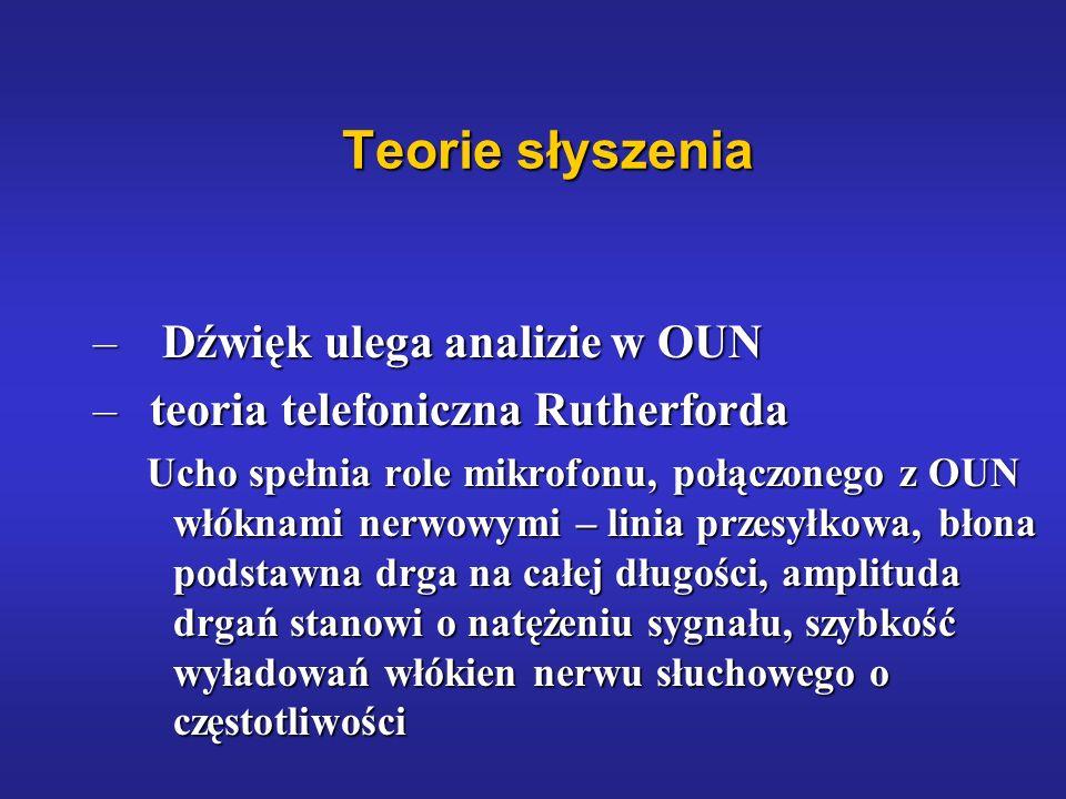 Teorie słyszenia – Dźwięk ulega analizie w OUN – teoria telefoniczna Rutherforda Ucho spełnia role mikrofonu, połączonego z OUN włóknami nerwowymi – l