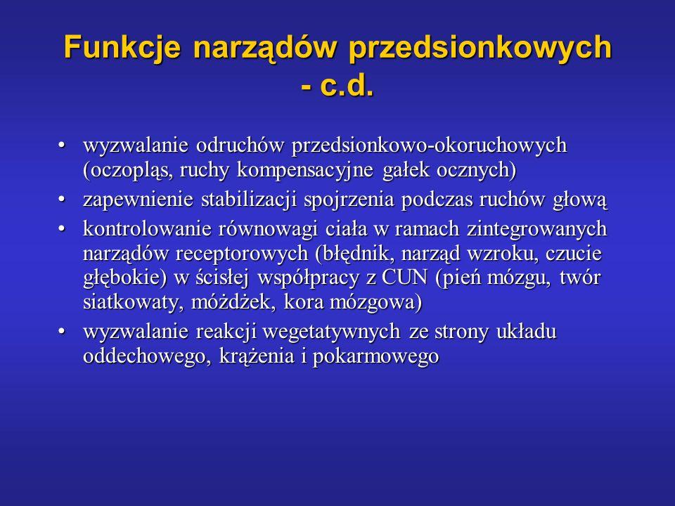 Funkcje narządów przedsionkowych - c.d. wyzwalanie odruchów przedsionkowo-okoruchowych (oczopląs, ruchy kompensacyjne gałek ocznych)wyzwalanie odruchó