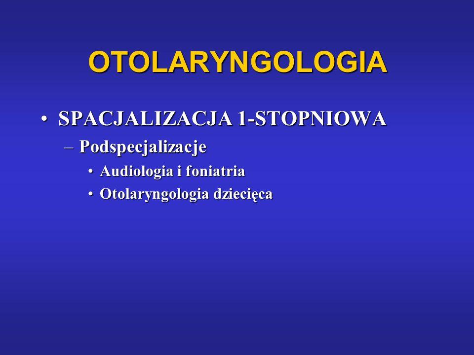 OTOLARYNGOLOGIA SPACJALIZACJA 1-STOPNIOWASPACJALIZACJA 1-STOPNIOWA –Podspecjalizacje Audiologia i foniatriaAudiologia i foniatria Otolaryngologia dzie