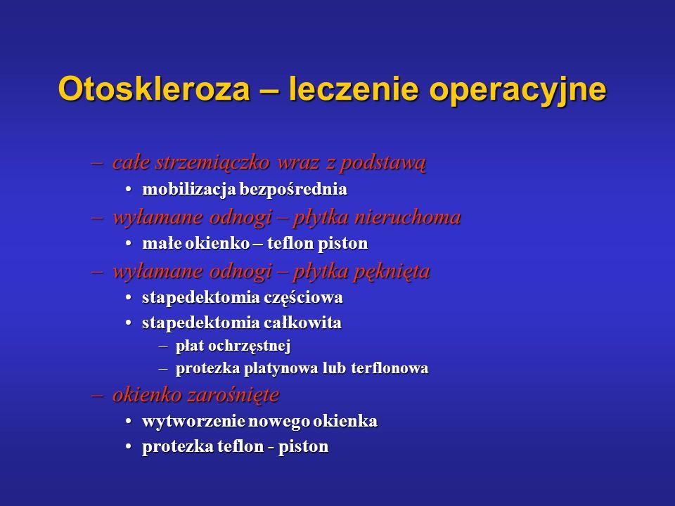 Otoskleroza – leczenie operacyjne –całe strzemiączko wraz z podstawą mobilizacja bezpośredniamobilizacja bezpośrednia –wyłamane odnogi – płytka nieruc