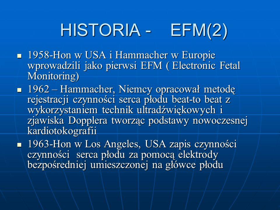 HISTORIA - EFM(2) 1958-Hon w USA i Hammacher w Europie wprowadzili jako pierwsi EFM ( Electronic Fetal Monitoring) 1958-Hon w USA i Hammacher w Europi