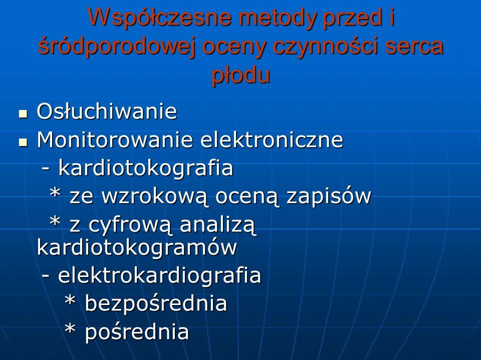 Kardiotokograficzne cechy niedotlenienia płodu (wg G.