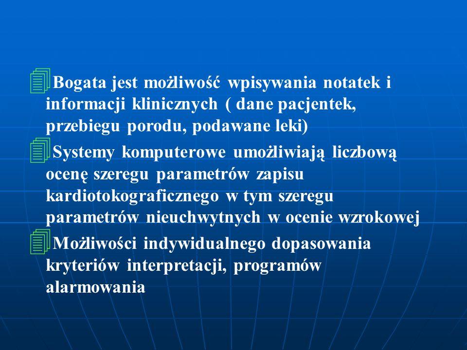 4 4 Bogata jest możliwość wpisywania notatek i informacji klinicznych ( dane pacjentek, przebiegu porodu, podawane leki) 4 4 Systemy komputerowe umożl
