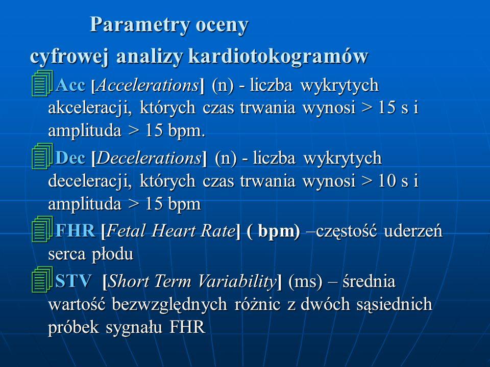Parametry oceny Parametry oceny cyfrowej analizy kardiotokogramów 4 Acc [ Accelerations] (n) - liczba wykrytych akceleracji, których czas trwania wyno
