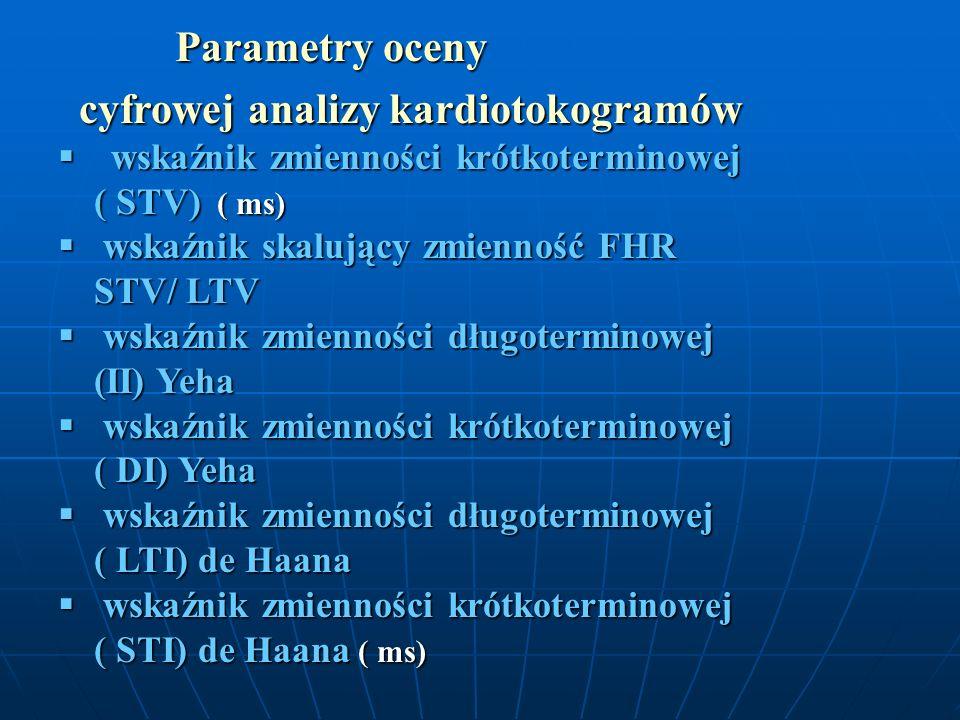 Parametry oceny Parametry oceny cyfrowej analizy kardiotokogramów cyfrowej analizy kardiotokogramów wskaźnik zmienności krótkoterminowej ( STV) ( ms)