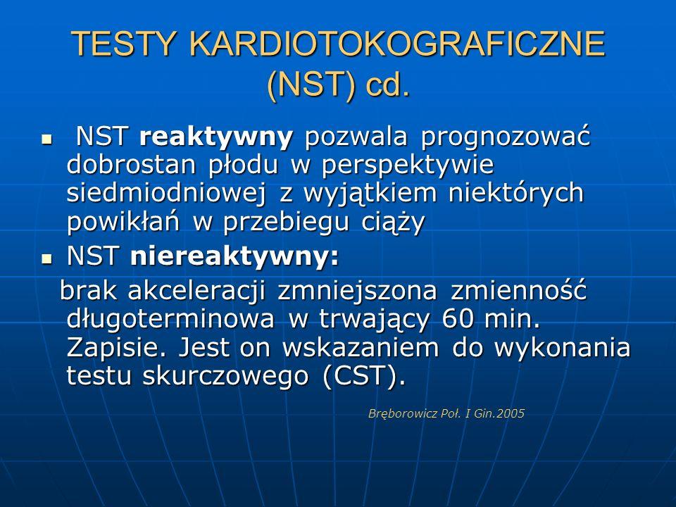 TESTY KARDIOTOKOGRAFICZNE (NST) cd. NST reaktywny pozwala prognozować dobrostan płodu w perspektywie siedmiodniowej z wyjątkiem niektórych powikłań w