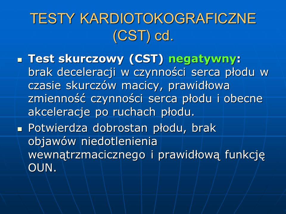 TESTY KARDIOTOKOGRAFICZNE (CST) cd. Test skurczowy (CST) negatywny: brak deceleracji w czynności serca płodu w czasie skurczów macicy, prawidłowa zmie