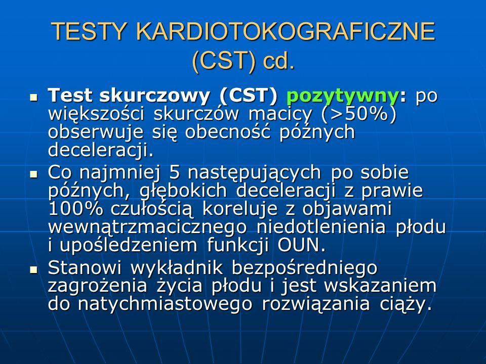 TESTY KARDIOTOKOGRAFICZNE (CST) cd. Test skurczowy (CST) pozytywny: po większości skurczów macicy (>50%) obserwuje się obecność późnych deceleracji. T