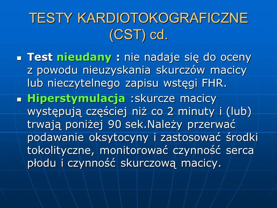 TESTY KARDIOTOKOGRAFICZNE (CST) cd. Test nieudany : nie nadaje się do oceny z powodu nieuzyskania skurczów macicy lub nieczytelnego zapisu wstęgi FHR.