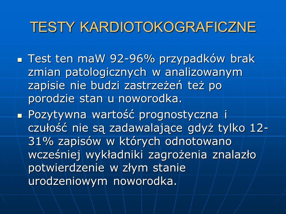 TESTY KARDIOTOKOGRAFICZNE Test ten maW 92-96% przypadków brak zmian patologicznych w analizowanym zapisie nie budzi zastrzeżeń też po porodzie stan u