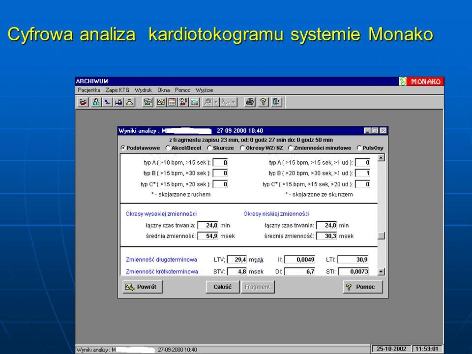 Cyfrowa analiza kardiotokogramu systemie Monako