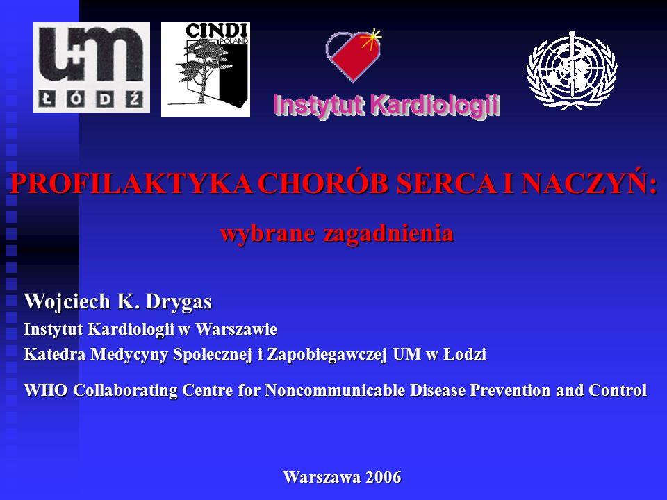 PROFILAKTYKA CHORÓB SERCA I NACZYŃ: wybrane zagadnienia wybrane zagadnienia Wojciech K. Drygas Instytut Kardiologii w Warszawie Katedra Medycyny Społe