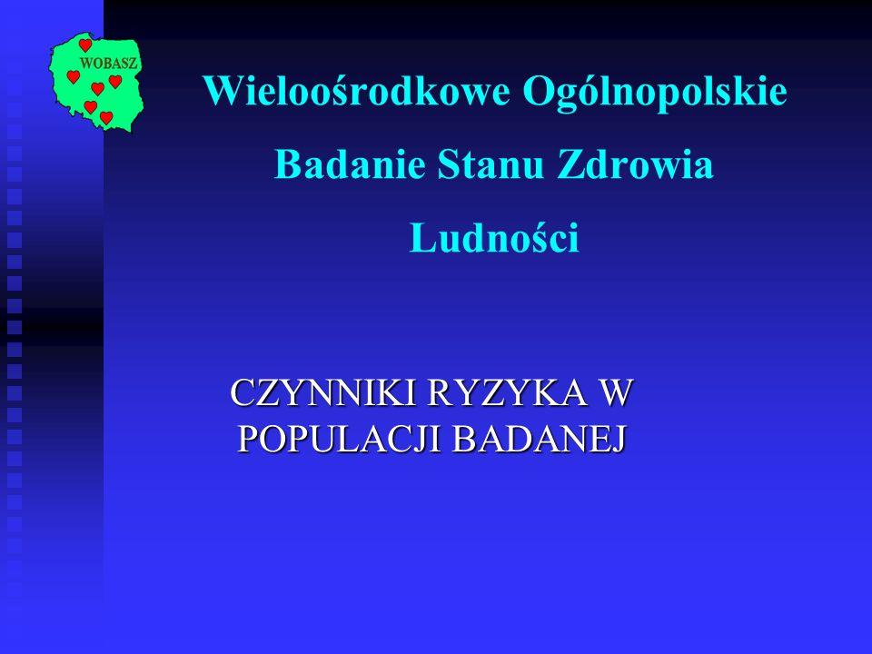 Wieloośrodkowe Ogólnopolskie Badanie Stanu Zdrowia Ludności CZYNNIKI RYZYKA W POPULACJI BADANEJ